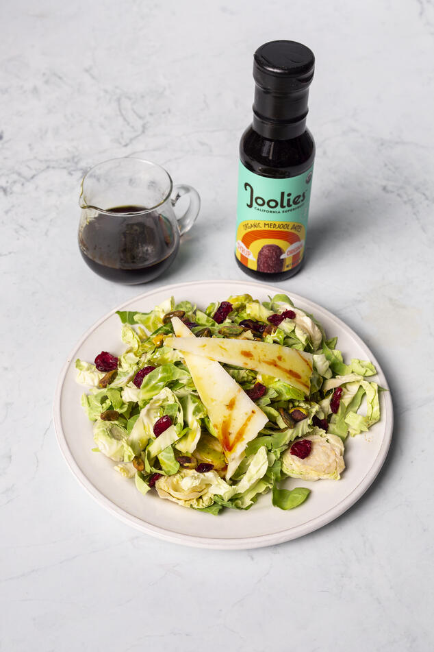 Shaved Brussels Sprout Salad with Date Lemon Vinaigrette