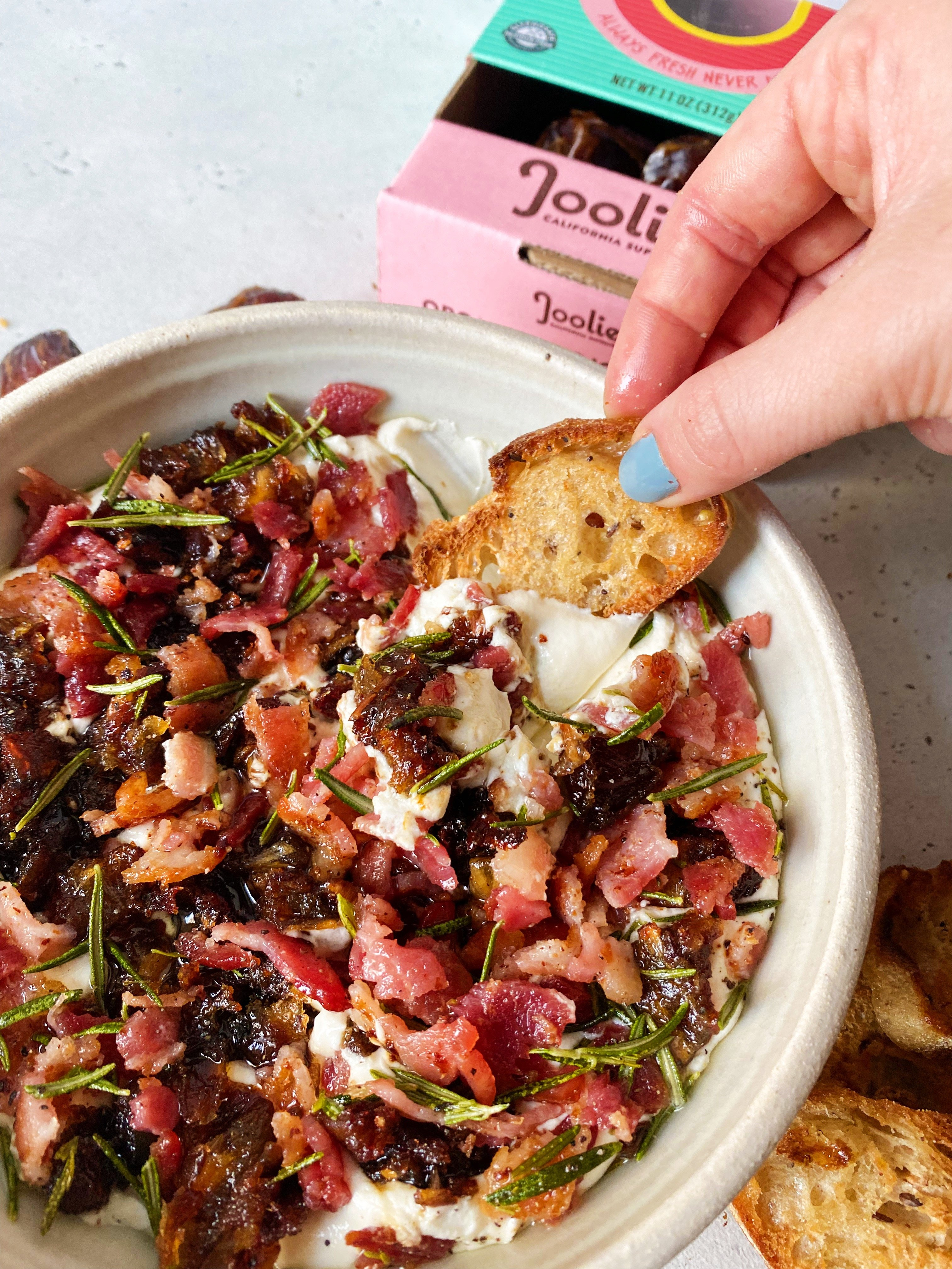 Whipped Goat Cheese Dip with Bacon and Dates